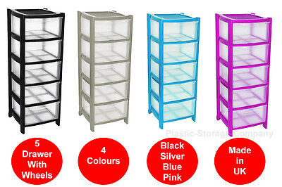 5 Drawer Plastic Storage Tower - 4 Colours - Strong - Home - School - Wheels