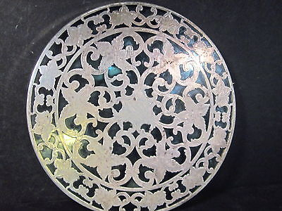 Vintage Webster STERLING & GLASS TRIVET COASTER  6""