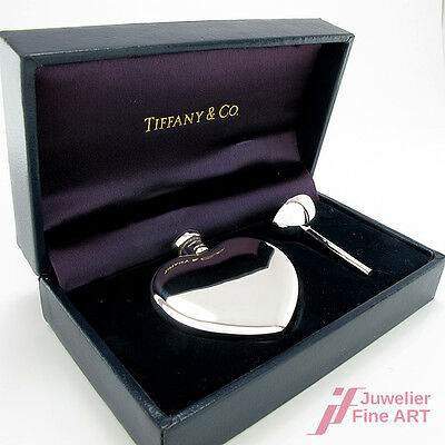 "Original ""Tiffany & Co"" Parfum Flakon in Herzform &Trichter 925er Sterlingsilber"