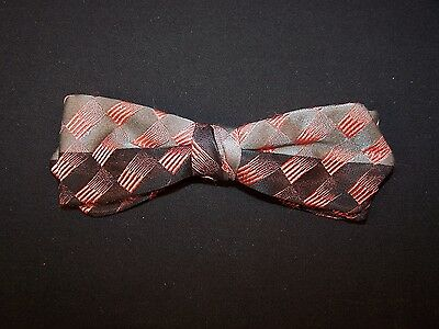 """Vintage Bow Tie Thin Clip On 5 1/8 """" x 1 3/4 """" Black Coral Gray 1940s-1950s"""