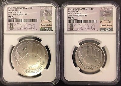DEREK JETTER 2014 P Silver MS70 $1 & 2014 D MS70 50c Hall Of Fame, Awesome Coins