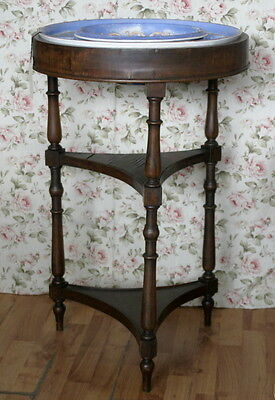 unusual antique round washstand table with Copeland pottery bowl and soap rim