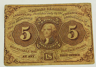 United States 1862 5 Cent Postage Currency Fr # 1228