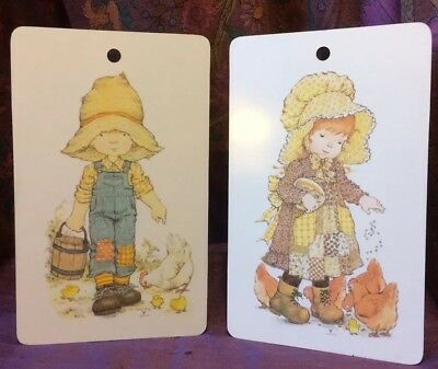 """Vintage 70's Sarah Kay """"Feeding the Chickens"""" Set of 2 Country Calico Boy & Girl"""