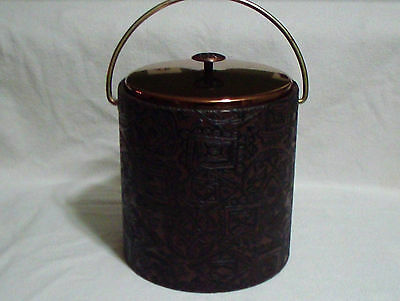 Vintage Textured Brown Vinyl or Leather Wrapped Ice Bucket Metal Handle Lid