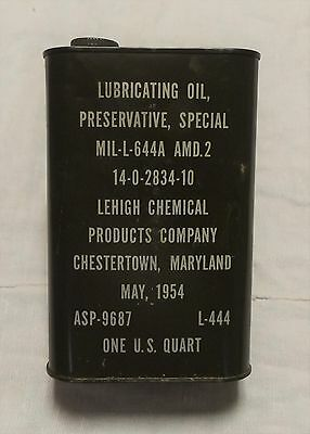 Vtg 1954 US Military Qt Lubricating Oil Can Special Preservative Lehigh Chemical