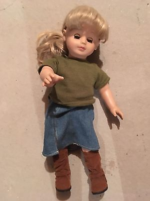 Gotz Doll Standing Hk 17/fl Ashley Nine Blonde Hair Bangs Blue Eyes Boots German