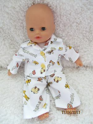 Handmade Doll Pyjamas supersoft fabric 2 Piece White Jungle Set 12-14""