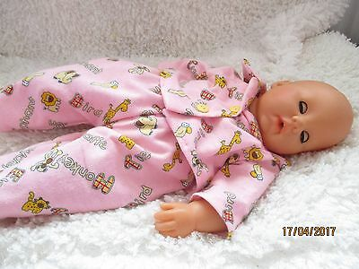 Handmade Doll Pyjamas supersoft fabric 2 Piece Pink Jungle Set 16-18inch