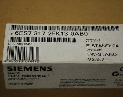 Siemens 6ES7317-2FK13-0AB0 CPU317F-2 PN/DP Simatic Central Processing Unit - NEW