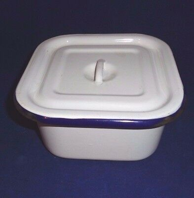 Vintage Enamel Blue & White Square Medical Dish With Lid