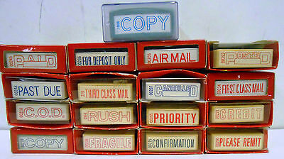 Business Stamps NEW Vintage Paid Airmail Past Due Lot of 17 Sanford Pom Stamper