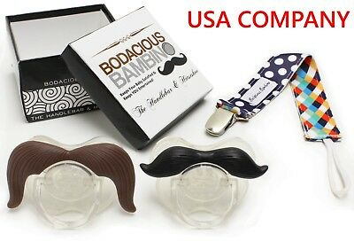 Mustache Pacifier 2-Pack w. Pacifier Clip | Cute & Funny Pacifiers | BPA-Free