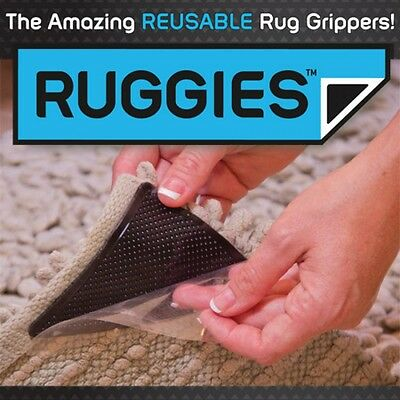 8Pcs Ruggies Rug Carpet Mat Grippers Non Slip Skid Reusable Washable Grips Tool