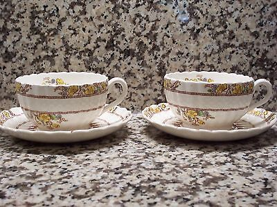 Spode Buttercup England Old Mark Set of 2 Cups Saucers