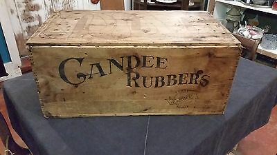 Antique Vintage Candee Rubbers 29 x 16 Wooden Box Crate