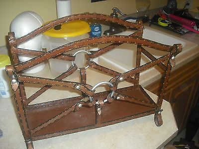 Western LP Record Stand BUCKLES Vintage METAL Magazine Newspaper Mag Rack