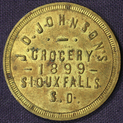 J.O. JOHNSON'S GROCERY 1899 SIOUX FALLS S.D. GOOD FOR 25¢ TRADE Token TC-484790