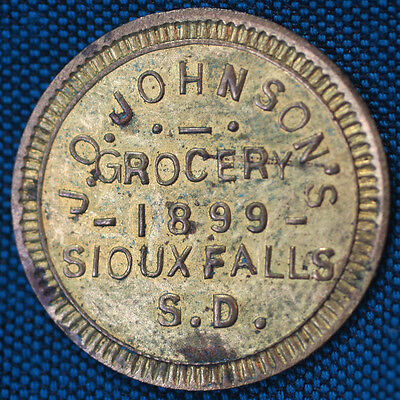 J.O. JOHNSON'S GROCERY 1899 SIOUX FALLS S.D. GOOD FOR 5¢ TRADE Token TC-484791