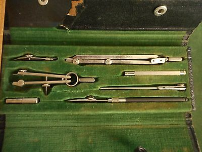 Vintage Compass Drafting Tool Set, Germany, #603, Antique, 7 Pc., Complete OLD