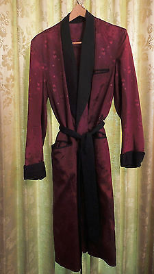 VINTAGE 40s 50s SATIN DRESSING GOWN MENS ROBE SMOKING JACKET CLARK GABLE CLASSIC