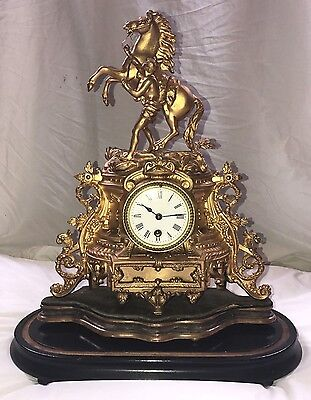 Camus Stamped Marley Horse French Gilt  Ormolu Glass Domed Clock Imperial
