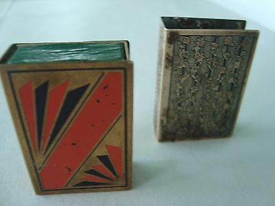 Lot of 2 Vintage Brass Match Box Case Holders-From SWEDEN& 1-Box Swedish Matches