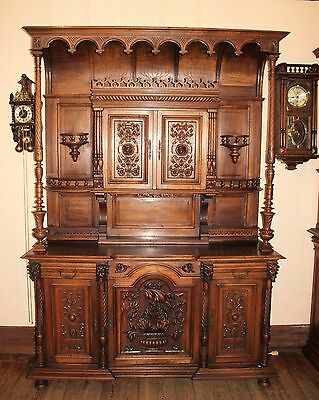 Exquisite French Antique Carved Walnut Gothic Buffet / Sideboard.