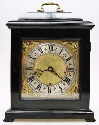 Rare Antique English Ebonised Triple Fusee Musical 4Bell Caddy Top Bracket Clock