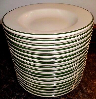 "Homer Laughlin 8"" Rest.Ware Rimmed Soup Bowl's(5)~White Green Trim~Fast Shipping"