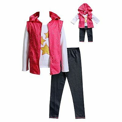 """Dollie Me Girl 4-14 and 18"""" Doll Matching Top Vest Leggings Outfit American Girl"""