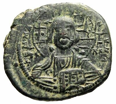 "Anonymous Byzantine Christ Follis ""Jesus Facing & King of Kings Legends"" Good VF"