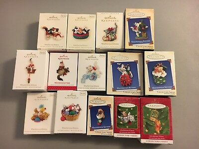 Lot of 14 Brand New Mischievous Kittens Hallmark Ornaments Collector's Series