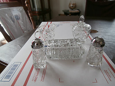 Anchor Hocking Early American Prescut 7 Piece Table Service Set # 700/719
