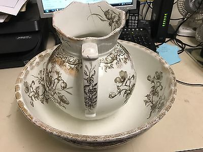 Antique Columbia C&h Tunstall England Wash Basin And Pitcher Floral Brown White