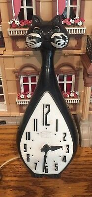 Vintage Spartus Shifting Eyes Black Cat Clock Mechanism  for Parts – Not Working