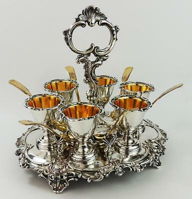 VICTORIAN J.D&S SILVER PLATED EGG CUP STAND c1840