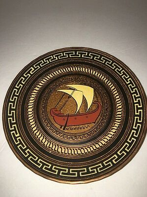 Vintage Greek Decorative SHIP Ceramic Wall Hanging Plate Hand Made In Greece