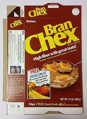 Vintage 1985 Ralston Bran Chex Cereal Box,Unused Flat,Free Fresh Fruit Offer
