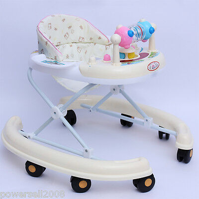 808 New 1 Baby White Plastic Collapsible Comfortable 8 Wheels Baby Walker