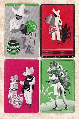 4 Vintage Playing Cards ~ Mexican Men ~ Sombreros ~ Baskets