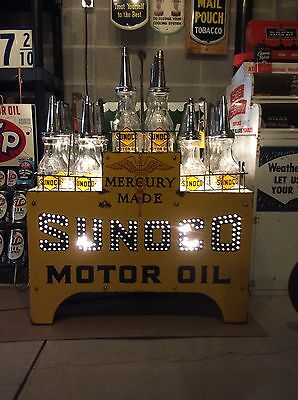 "Investment Quality!! ""Sunoco"" Mercury Made - Glass Motor Oil Bottle Display"