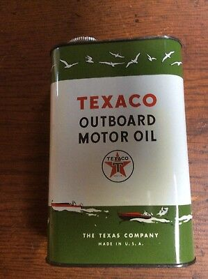 """Nice """"Texaco"""" Outboard Motor Oil Can - One Quart"""