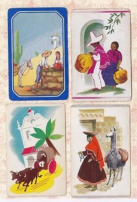 4 Vintage Playing Cards ~ Spanish & Mexican People ~ Llama/Donkey/Bulls