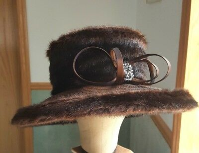 AsHro Whittall & Shon Women's Brown Faux Fur Hat