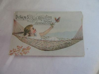 Downs' Self Adjusting  Improved Corset Victorian Trade Card*female In Hammock