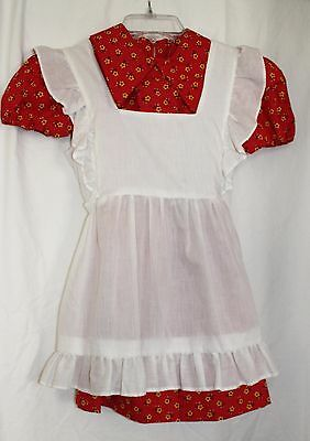 Girls Vintage Dress Red Yellow Floral Dress With White Pinafore Apron Raggy Ann!