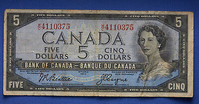 1954 Canadian $5 Note Bank of Canada