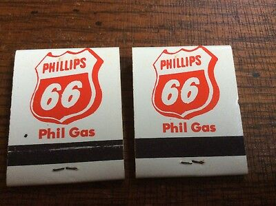 "(2) ""Phillips 66"" Phil Gas Matchbooks - Nos Condition"