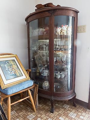 Antique Curved Glass Claw Foot China Closet - Keyed Lock Still Works - Mirrored